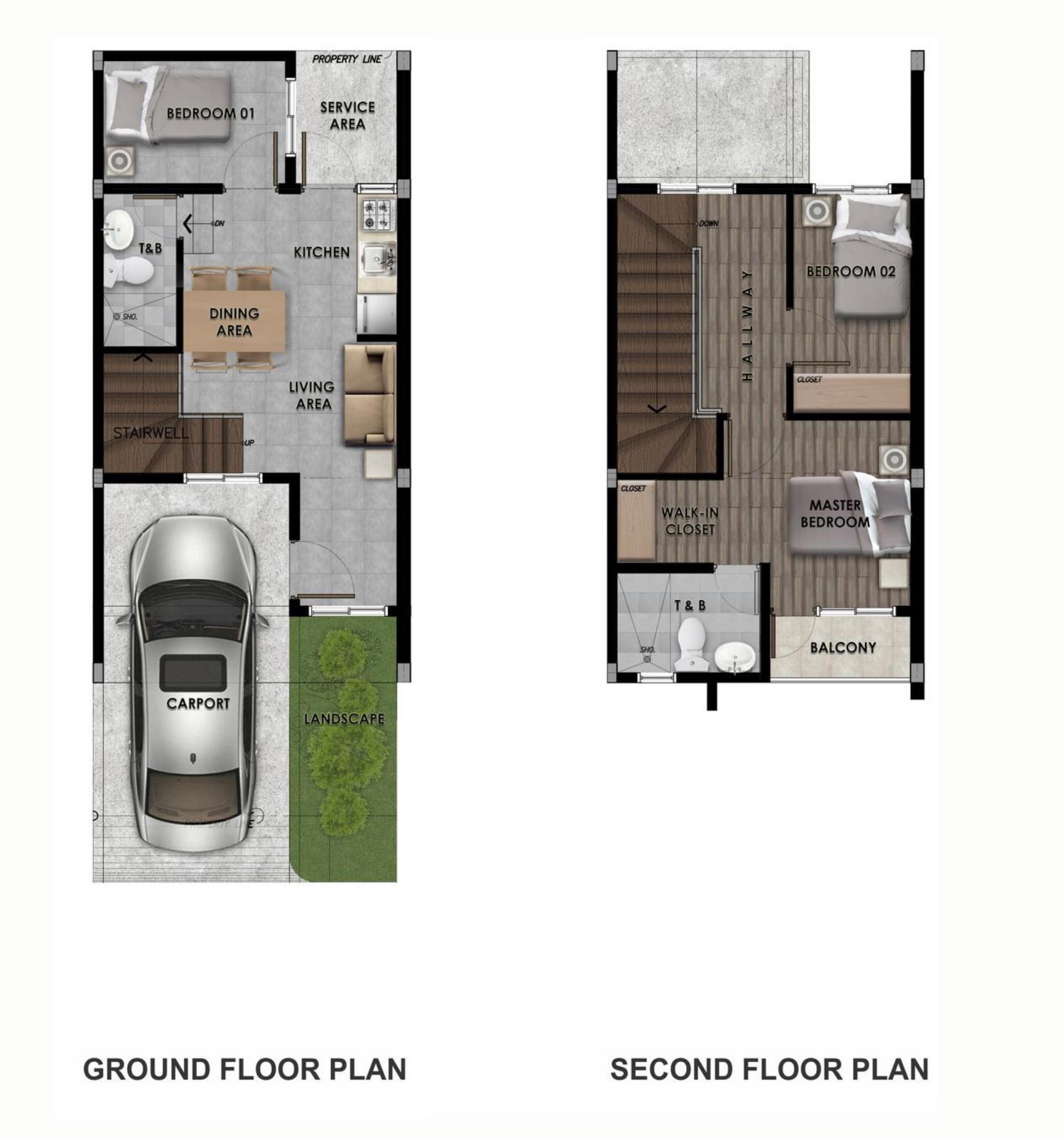 Michelia Residences, Marikina Heights, Marikina City 2-storeys floor plan