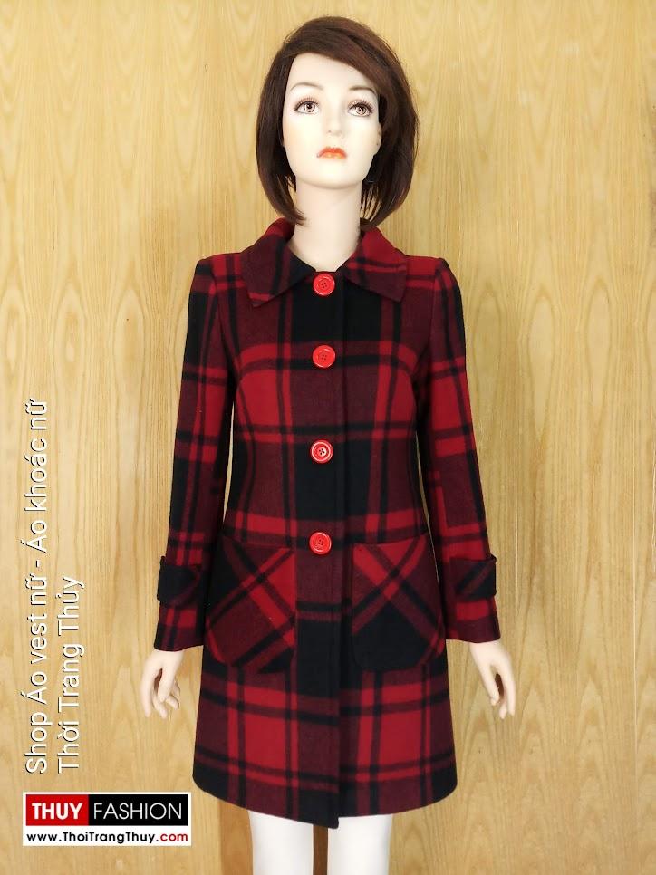 Áo khoác dạ nữ dáng dài kẻ caro v657 thời trang thủy hải phòng