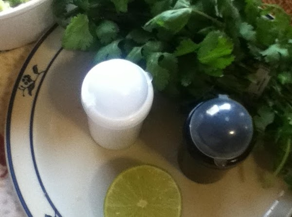 Squeeze 1/2 of a lime over the dip. The lime is also the ingredient...