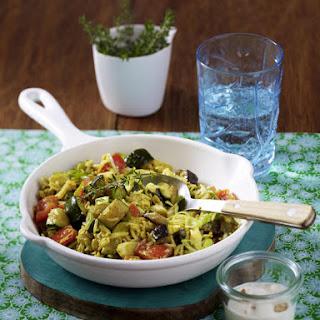 Easy Vegetables Pilaf with Yogurt Sauce.