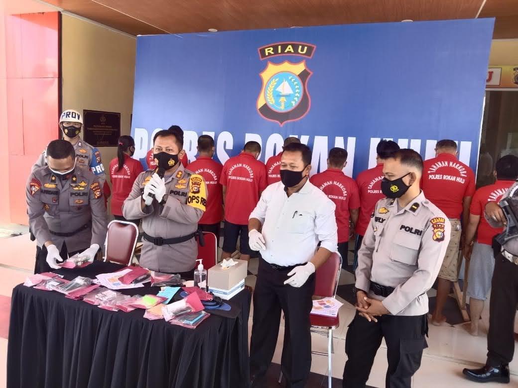 Hasil Ops Antik 2021, Polres Rohul Ringkus 34 Tersangka Dari 22 Kasus Narkotika