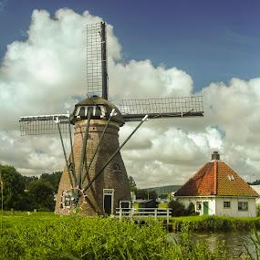 Stadsmolen Leiden by Pete Bobb - Buildings & Architecture Public & Historical ( brick windmill, windmill, cumulus clouds )
