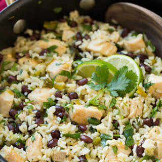 One Pan Cilantro-Lime Chicken and Rice with Black Beans.