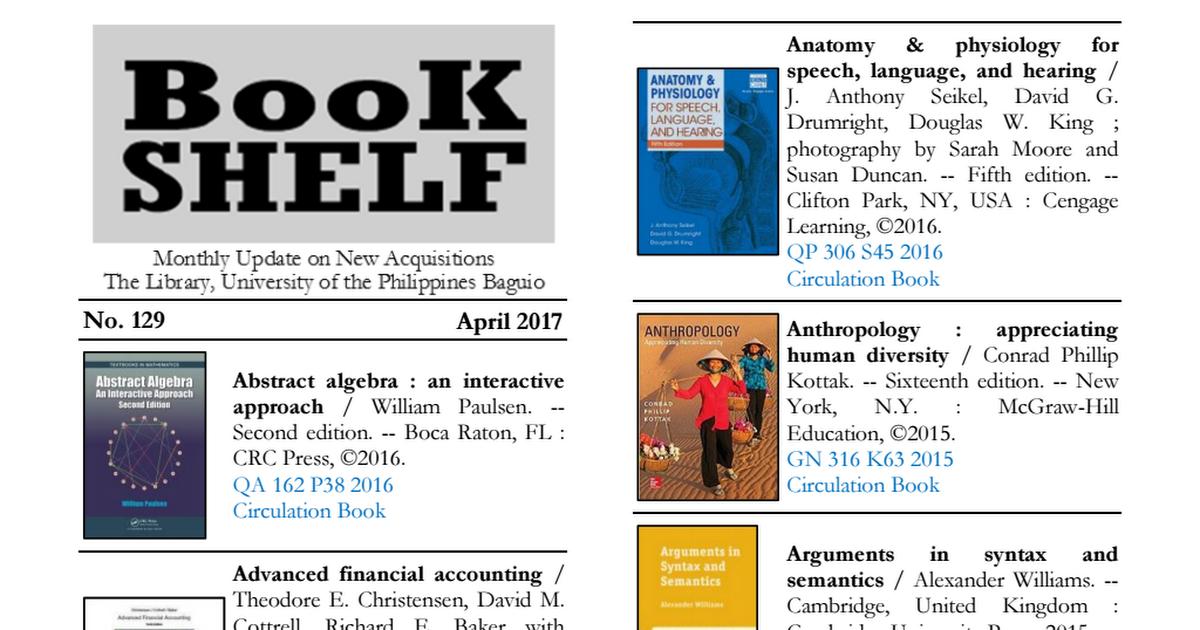 No. 129 April 2017 Book Shelf.pdf - Google Drive