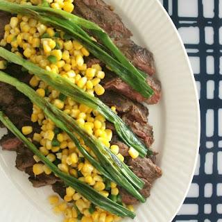 Flank Steak with Wilted Scallions + Corn Salsa
