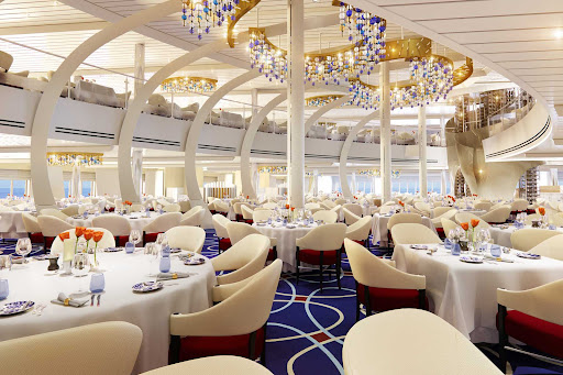A look at the main dining room on Holland America's newest ship, Rotterdam.
