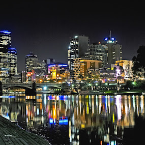 Melbourne City by Ewan Arnolda - City,  Street & Park  Skylines ( lights, water, reflection, australia, buildings, city )
