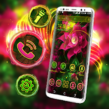 Neon Pink Flower Launcher Theme Download on Windows