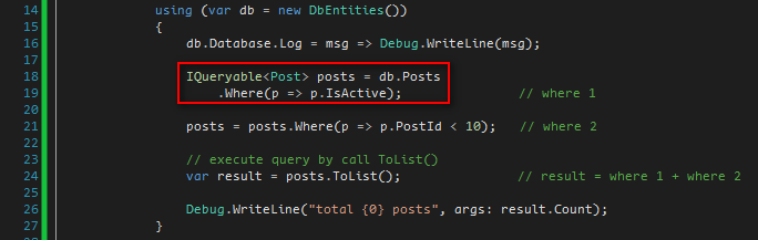 IQueryable action post