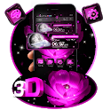 Pink Flower 3D Glass Tech Theme 🌺🌸 icon