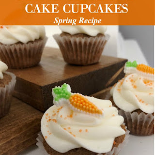 Mini Carrot Cake Cupcakes with Cream Cheese Frosting.