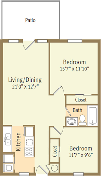 Go to Two Bed, One Bath Thornberry Floorplan page.