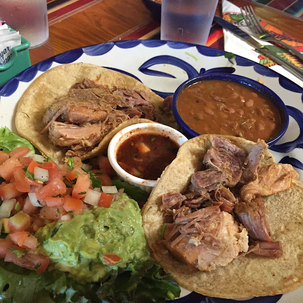 Pork tacos from the GF menu