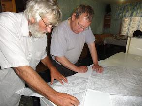 Photo: Волк с Юрием разбирают, как лучше пройти по протокам Оби, какая высохла, какая проходима.