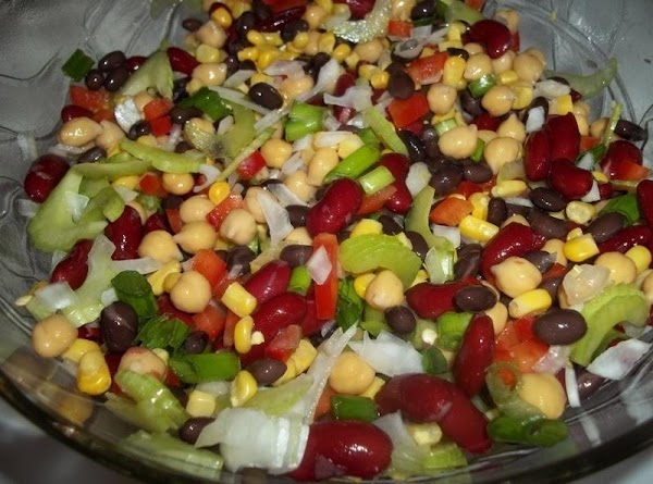 Drain all beans well. Place in a large bowl. Add the prepared vegetables &...