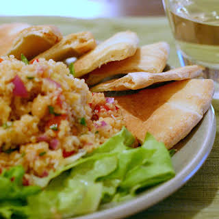 Bulgur Salad with Chickpeas, Roasted Red Peppers and Spiced Cumin Dressing.
