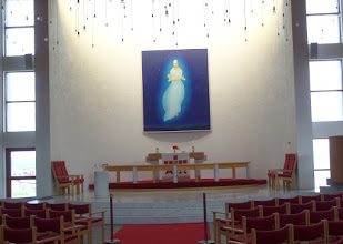 Photo: The interior of this Lutheran church featured a painting by a famous Icelandic artist