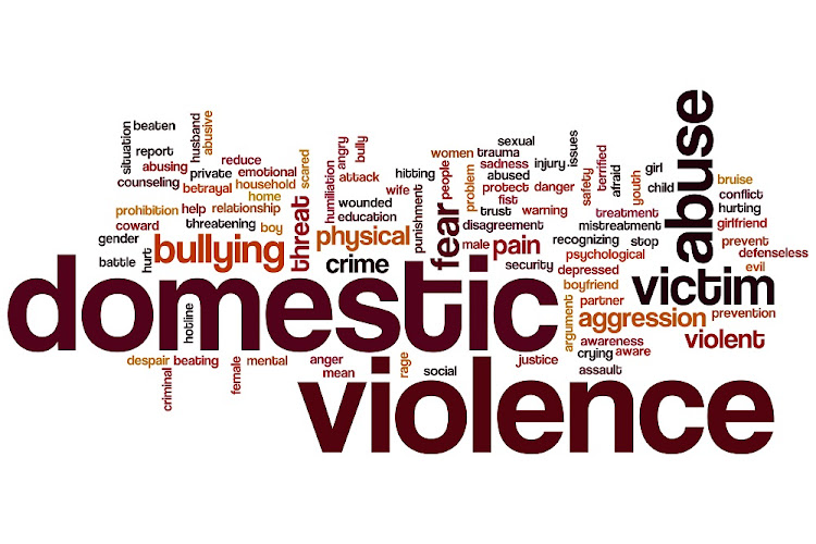Domestic violence concept word cloud background.