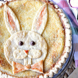 Coconut Chocolate Chip Custard Easter Bunny Pie.