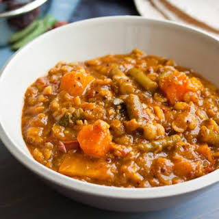 Spicy Lentil Soup With Squash, Tomato And Green Beans (sambar).