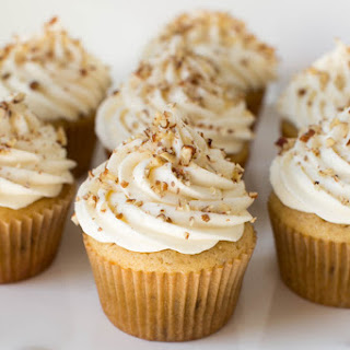 Maple Pecan Cupcakes with Maple Cream Cheese Frosting.