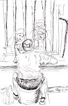 Photo: 阿爹不要哭2012.05.31鋼筆 阿爹七旬才入監 認罪協商換八年 兒女結伴來探親 相望無語淚漣漣
