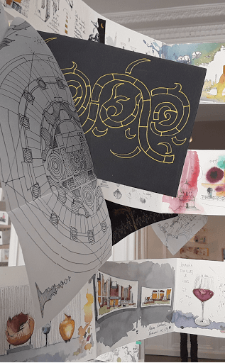 expo CARNET DE VOYAGE _ aquarelle  avec JEANNE PAPA_Naples 2019_ travaux des éléves_ Fontainebleau_ Seine et Marne