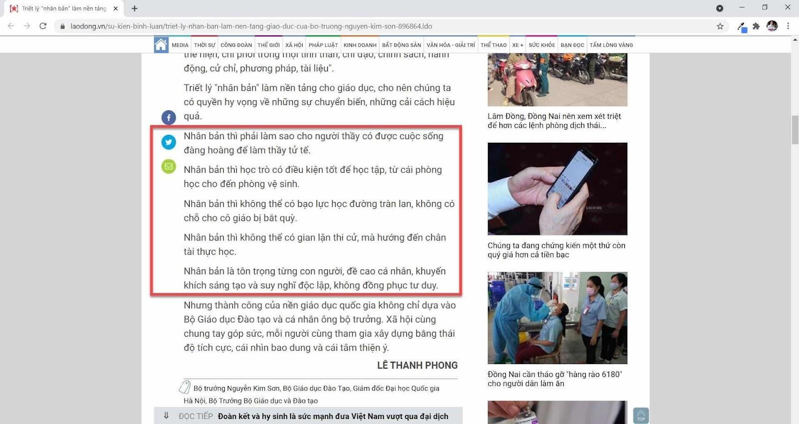 Về tại sao triết lý nhân bản của Bộ Trưởng Bộ Giáo Dục Nguyễn Kim Sơn chỉ là lời nói suông ?