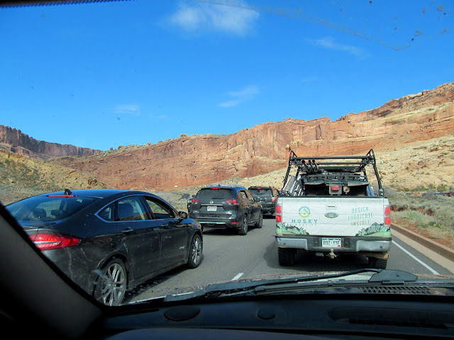 Waiting in line to get into Arches National Park