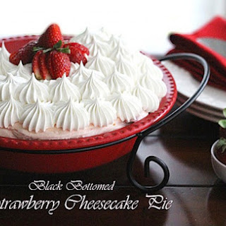 Black Bottomed Strawberry Cheesecake Pie