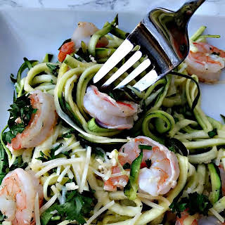 Low Carb Shrimp Scampi with Zucchini Noodles and Parmesan.