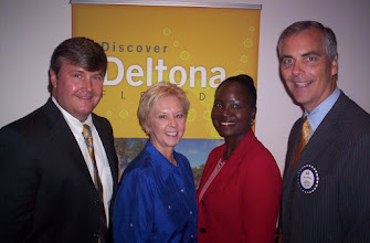 Photo: What a great snapshot! - Scott McKee, Ruth Swanto, Sally Sherman, President Joe Johnson - July 1, 2008 - Joe's first meeting as our new President!
