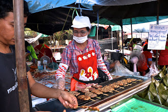 "Photo: grilled marinated pork (""moo bping"") at the Sunday market in Nakhon Si Thammarat"