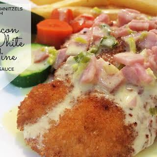 Chicken Schnitzels with Bacon & White Wine Cream Sauce.