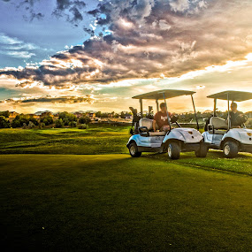 Golfing at Sunset by Luke Porter - Landscapes Sunsets & Sunrises ( clouds, golf cart, golfing, golf course, hdr, colorful, sunset, sunrise )