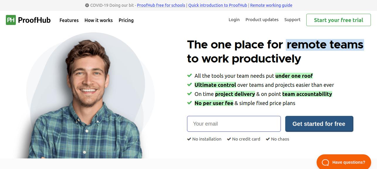 proofhub website homepage