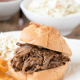Slow Cooker Shredded Barbecue Beef Sandwiches.