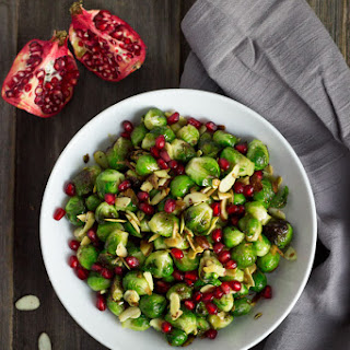 Roasted Brussels Sprouts With Toasted Almonds.