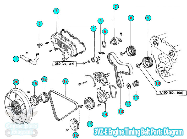 Toyota Pickup  Hilux Timing    Belt    Parts    Diagram    3VZE Engine