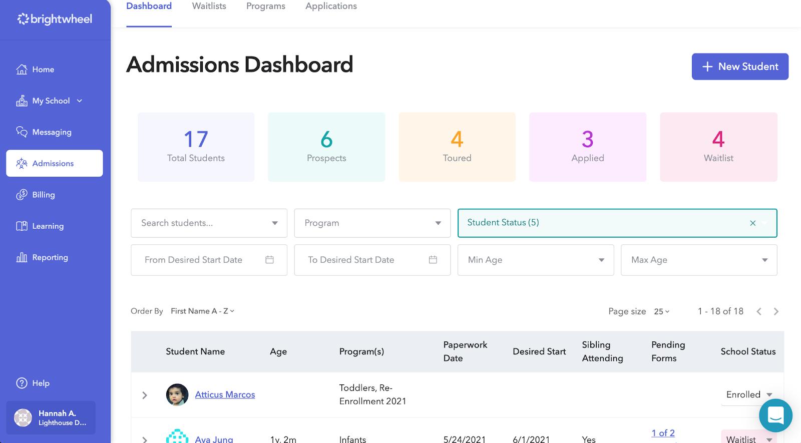 brightwheel enrollment dashboard