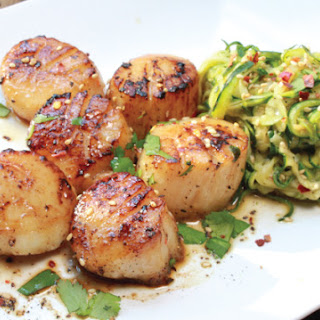 Pan Seared Asian Scallops with Zucchini Noodles.