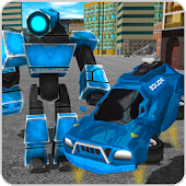 Flying Robot Police Car Driver