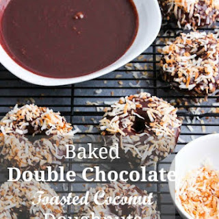 Baked Double Chocolate Toasted Coconut Doughnuts.