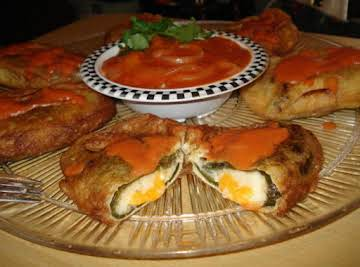 Chiles Rellenos and Tomato Cumin Sauce (Stuffed Poblano Peppers)