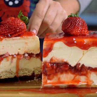 White Chocolate Strawberry Cheesecake.