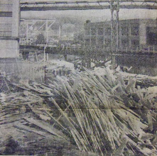 Photo: Lumber from the Hotchkiss Lumber Company in Torrington came to rest next to the Naugatuck River.