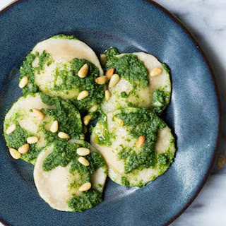Squash Ravioli With Kale Pesto and Pine Nuts [Vegan, Gluten-Free]