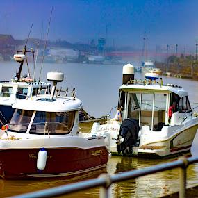 River boats by Dan Gomm - Transportation Boats ( riverboats, river walk, littlehampton, boats, river )