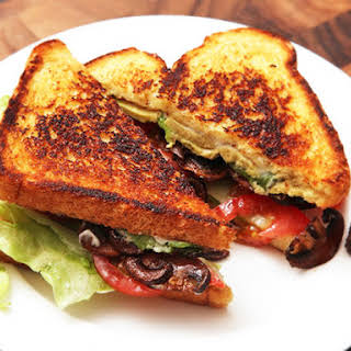 Lettuce, Tomato, Avocado, and Crispy Smoked Mushroom Sandwiches.