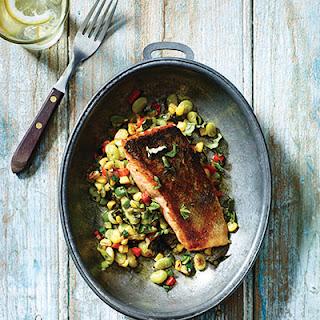Crispy-Skin Pan-Seared Salmon with Summertime Succotash